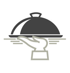 Food delivery service icon of dish on hand vector