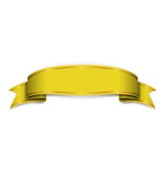 Gold ribbon banner golden satin glossy bow blank vector