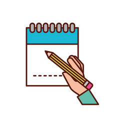 hand holding pencil writing on notepad vector image