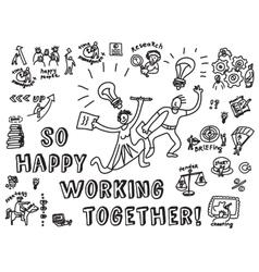 Happy business creative couple work monochrome vector