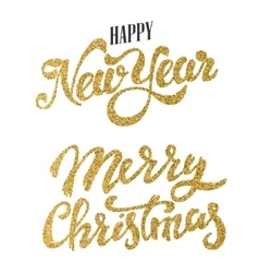 Happy New Year and Merry Christmas gold glitter vector image