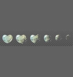 Heart shape bubble burst sprites vector