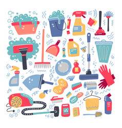 household supplies and cleaning set flat hand vector image