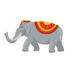 Indian elephant tusks and clothing with ornament vector