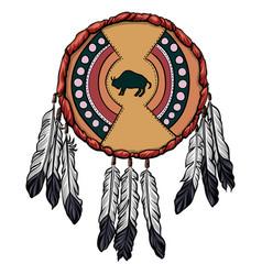 indian hide shield with bison symbol vector image