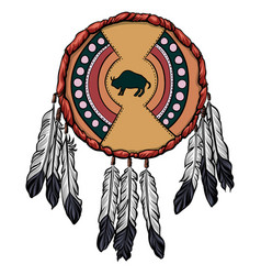 Indian hide shield with the bison symbol vector