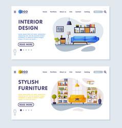interior design stylish furniture landing page vector image