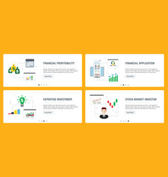 internet banner set with financial profitability vector image