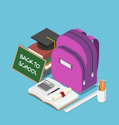 Isometric blackboard with text back to school vector
