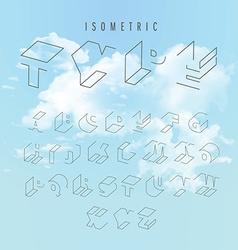 Isometric outline alphabet vector