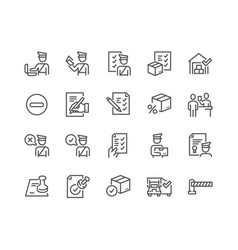line customs icons vector image