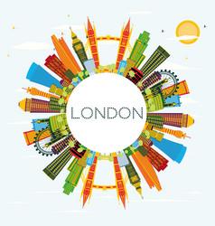 London england city skyline with color buildings vector