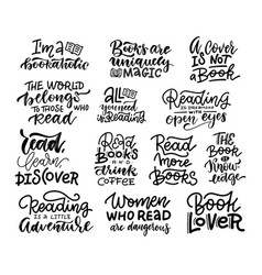 Love reading book lettering phrases set vector