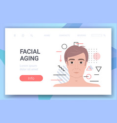 Male face with wrinkles facial aging concept vector