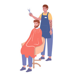 Man hairdresser provides service at chair to male vector