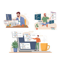 man programming and coding laptops and gadget vector image