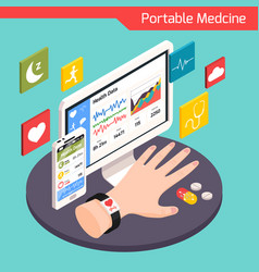 Medical technology isometric composition vector