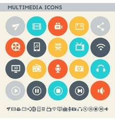 Multimedia icons Multicolored flat buttons vector