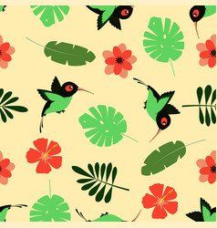 Pattern with cartoon hummingbird vector