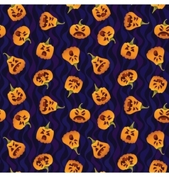 Pattern with Funny Smiling Halloween Pumpkins vector