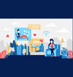 people in remote communication social media vector image