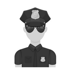 Police officer icon in monochrome style isolated vector