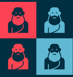 Pop art socrates icon isolated on color background vector
