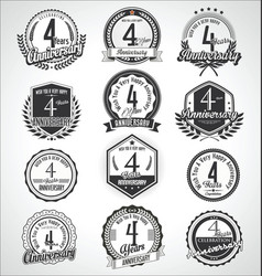 retro vintage anniversary badges and labels vector image