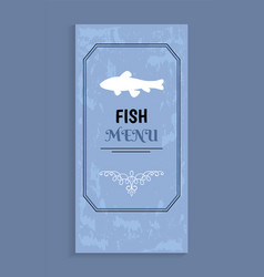 Seafood menu with shadow silhouette of fish vector