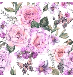 Seamless background with roses and butterfly vector image
