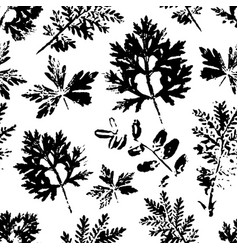 Seamless pattern with ink stamp leaves vector