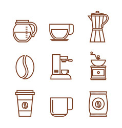 set of coffee elements and accessories concept vector image