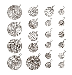 Set of doodle hand drawn Christmas balls vector image