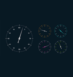 Set white clock face for with pointer vector