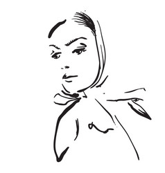 Sketching hand draw woman in shawl vector