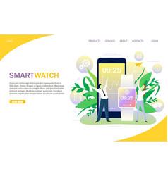 Smart watch landing page website template vector