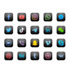 social media square black modern icons set vector image