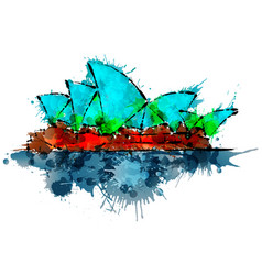 Sydney opera house made of colorful splashes vector