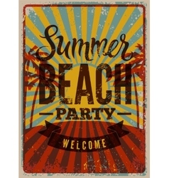 typographic summerparty grunge retro poster vector image