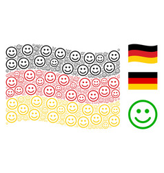 Waving german flag pattern of glad smiley items vector