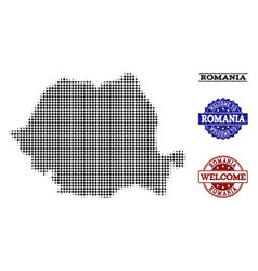 Welcome composition of halftone map of romania and vector