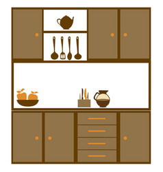 color silhouette of kitchen cabinets with utensils vector image vector image