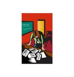 Depressed Female School Teacher Classroom Woodcut vector image vector image