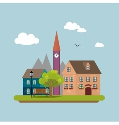 Image of a country town in a flat style Urban vector image vector image
