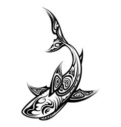 Shark Polynesian Tattoo vector image