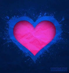 Creased old blue paper with cut pink heart vector image vector image