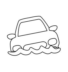 line flooded car for danger weather vector image vector image