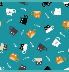 pattern with cats and fishbones vector image