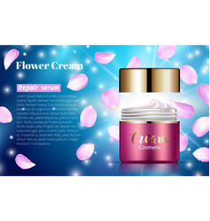 pink cream bank whitening lotion ads floral vector image vector image