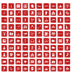 100 hacking icons set grunge red vector image